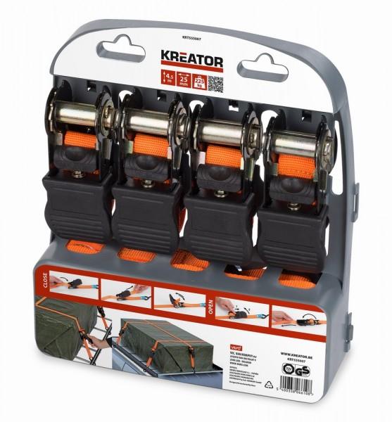 Kreator KRT555007 - Upínací pás ráčnový s háky 225kg/4,5m 4ks